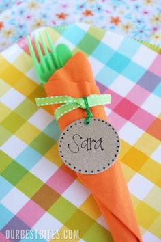 easter carrot napkin bundles