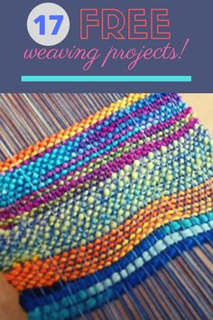 Check out this list of free weaving projects and get started today! Pin Weaving, Weaving Art, Weaving Patterns, Loom Weaving, Weaving Projects, Craft Projects, Craft Ideas, Types Of Weaving, Wool Embroidery