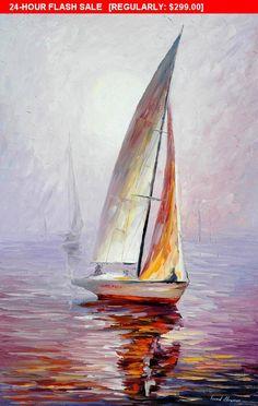 Segelboot Wandkunst  Traumyacht-Spachtel Segeln Ölgemälde auf