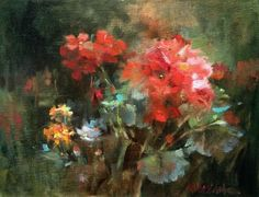 Geranium Mix, painting by artist Mary Maxam