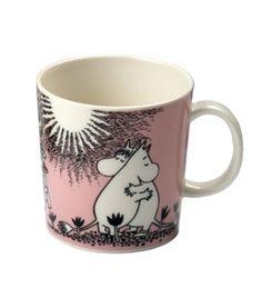 Muumi mug - love - pink - Arabia - Finland - by Tove Slotte-Elevant Moomin Mugs, Tableware, Pink, Finland, Decor, Dinnerware, Decoration, Tablewares, Decorating