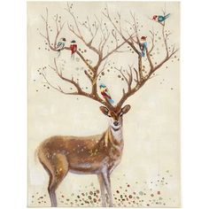 The unique beauty of our hand-painted canvas can't be overstated. The impressive rack on the buck mimics branches of a tree, where watercolor-like birds happily perch. Dotted details, on both the deer and the ground below, exude a subtle shimmer, making this an unexpected and enchanting piece for the nature lover.
