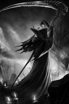 League of Legend Halloween Grim Reaper Karthus Case for iPhone 6 Plus Death Reaper, Grim Reaper Art, Don't Fear The Reaper, Dark Fantasy Art, Dark Art, Reaper Tattoo, Ange Demon, Arte Obscura, Bild Tattoos