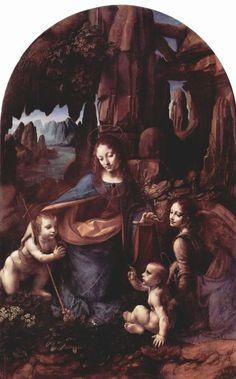 Leonardo da Vinci.  Madonna in der Felsengrotte.1503-1506, Öl auf Holz, 189,5 × 120cm.London, National Gallery.Urspr. Mittelteil eines Triptychons, vgl. auch Pariser Version.Italien.Renaissance.  KO 00506