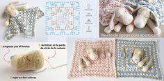 #Crochet paso a paso: colcha con perritos o manta de apego para acurrucarse!