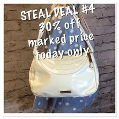 STEVE MADDEN WHITE PURSE Love this for spring and summer with the patent style material and the braided strap. NWOT. However it has a couple of very faint marks as shown in pic   So look before you purchase. Made of polyurethane Steve Madden Bags