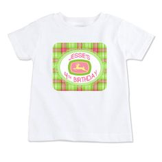 T-Shirt-Birthday T-Shirt-Party T-Shirt-Personalized-Custom T-Shirts-John Deere Girl w/ Name & Age-Front Only