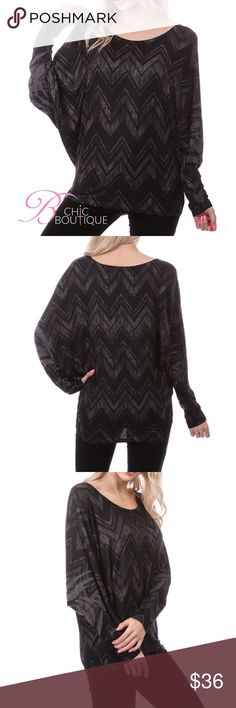 Black and Gray Dolman Long Sleeve Top Black and Gray Dolman Long Sleeve Top fits true to size. Made of poly/ Rayon/ spandex blend. Made in USA 🇺🇸 Bchic Tops