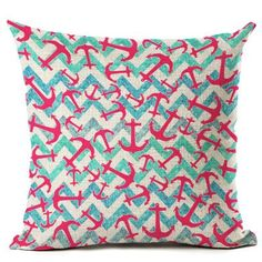 Nautical Anchor Design Decorative Pillow Case Cover x - Cove Cotton Rustic Decorative Pillows, Decorative Pillow Cases, Aqua Fabric, Nautical Anchor, Quilting Projects, Pattern Design, Throw Pillows, Cover, Pink
