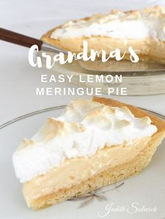 Grandma's Easy Lemon Meringue Pie. One of my daughter's favourite recipes. Easy-to-make and delicious too!