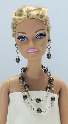 Barbie Doll Silver LARIAT Necklace & Earrings Set w/ Swarovski BLACK FAUX PEARLS