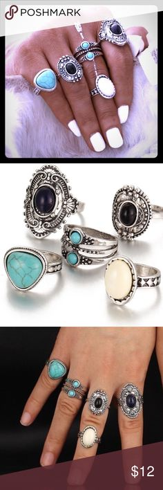 💍Boho Style Silver Ring Set💍 5 total pieces in all make up this bohemian style silver toned ring set that includes alloy, turquoise & silver plated setting materials w/ an antique-like vibe. NWT. To get a good idea of sizing; my ring finger is a Sz 7 & all of the rings fit at least one of my fingers w/ either a standard fit or midi fit. Jewelry Rings