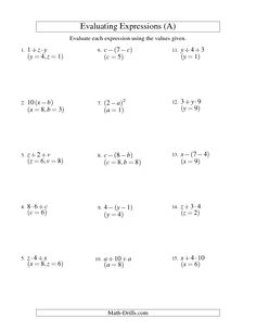 Evaluating One-Step Algebraic Expressions with One Variable and No ...