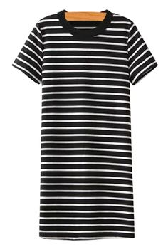 Striped Short Sleeves Straight Dress
