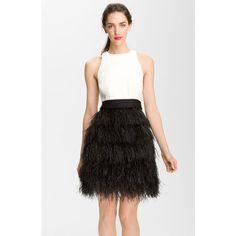 Milly 'Sasha' Feathered Dress ($645) ❤ liked on Polyvore