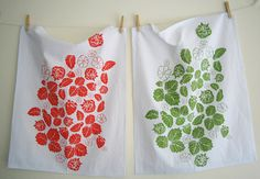 Hand printed tea towels $16