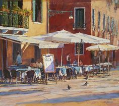 'White Parasols, Venice' Original, Acrylic on Board, Framed £1950.00