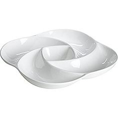 A very cool serving bowl with clean lines from Pier 1, cheap and reminiscent of a flower blossom.