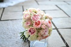 Simply elegance bridal bouquet with garden roses and hydrangeas