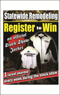 How would you like to win an Official Stock Show Jacket? We are giving away a jacket once a week for three weeks. This weeks drawing will be held Friday evening at our booth at the Stock Show. Come see us! Show Jackets, Say Hello, Remodeling, Friday, Events, Drawing, Sketches, Drawings, Draw