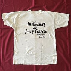 "NBW vintage Grateful Dead Jerry Garcia XL T Shirt ""In memory of Jerry Garcia"" in Entertainment Memorabilia, Music Memorabilia, Rock & Pop 