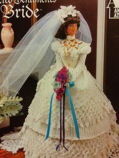 CROCHET BRIDE BARBIE 11.5 FASHION DOLL DRESS PATTERN ANNIE'S ATTIC 870217 #AnniesAttic
