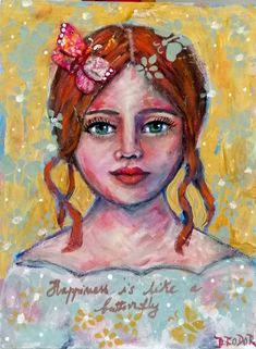 Happiness is like a butterfly , mixed media folk art painting collage acrylic girl butterfly inspirational painting Collage Art Mixed Media, Mixed Media Painting, Butterfly Painting, Painting Collage, Fluid Acrylics, Naive Art, Little Red, Folk Art, Original Paintings