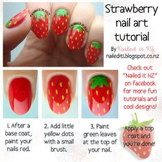 Strawberry nail art tutorial