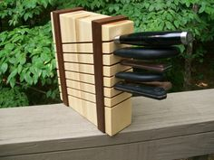 Maple and Walnut Knife Block
