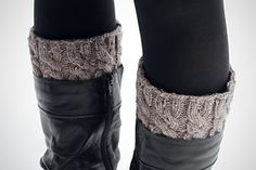 Love having cozy, cabled socks peeking out of your boots? Knit these quick cuffs to get the look at a fraction of the cost! They're versatile, too-- wear them right side-out to look like tall socks, or flip inside-out and fold over for a cuffed look.