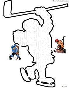 Hockey Player Maze: Shoot the puck thru the maze to the net.