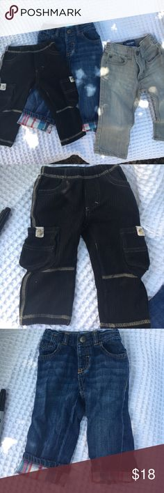 Pants Bundle Gray denims, blue jeans with plaid cuffs, black corduroy cargos Bottoms