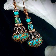 "Jewelry Making Earrings ""Your Wish is My Command"" Aqua Blue Turquoise Copper Filigree Jeannie Bottle Victorian Earrings - I Love Jewelry, Wire Jewelry, Boho Jewelry, Beaded Jewelry, Jewelery, Jewelry Design, Jewelry Making, Gold Jewellery, Silver Jewelry"