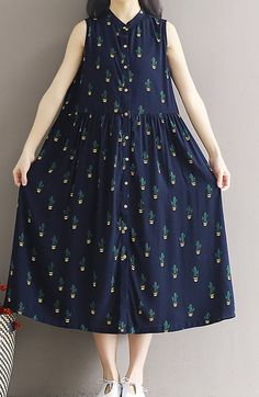 Women loose fit over size cotton vintage flower blue button up dress skirt chic #Unbranded #dress #Casual
