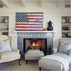 American Flag Sign www.melissalyonsart.com I would love a flag like this for our house