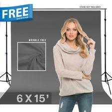 9 x 15ft Gray Muslin Backdrop Photography Background Photo Studio Winkle Free
