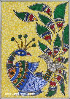 Pep Up Street - Yellow and Blue Peacock Madhubani Mithila Painting