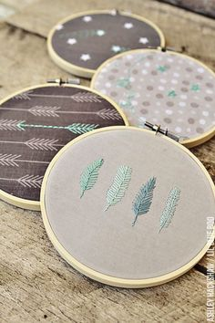 Creative Embroidery Hoop Wall Art Ideas using printed fabric. An easy tutorial for decorating your walls with fabric using regular embroidery hoops. MichaelsMakers Lil Blue Boo