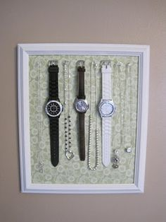 Watch holder- cute idea but I wouldn't use push pins, probably some hooks
