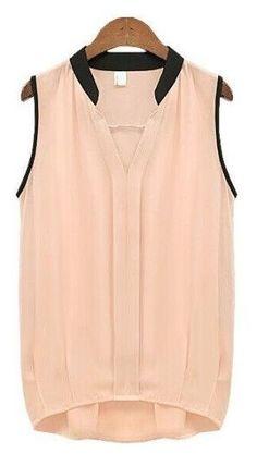 Women's Casual Chiffon Blouse Solid Sleeveless Shirt