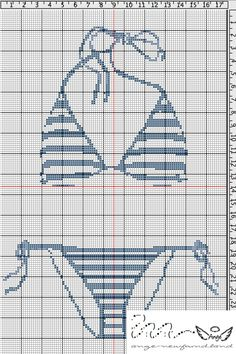 point de croix Maillot de bain rayé de femme - cross stitch woman's striped swinsuit