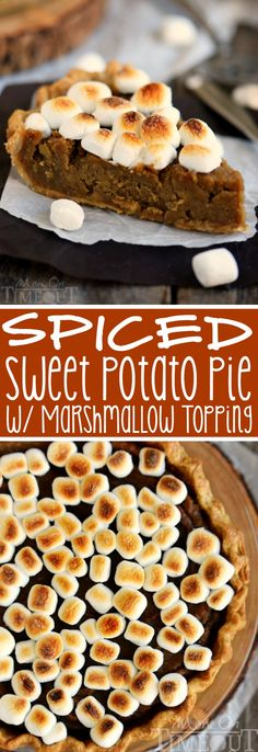 A classic pie with a sticky sweet update...Spiced Sweet Potato Pie with Marshmallow Topping! This easy and DELICIOUS pie needs to make it onto YOUR holiday menu!: