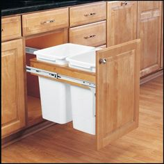 Rev-A-Shelf - - Double 27 Qt. Pull-Out Top Mount Wood and White Waste Container for in. Face Frame Cabinet by Rev-A-Shelf Trash Containers, Trash Bins, Face Frame Cabinets, Base Cabinets, Upper Cabinets, Kitchen Organization, Kitchen Storage, Kitchen Bins, Cheap Kitchen Cabinets