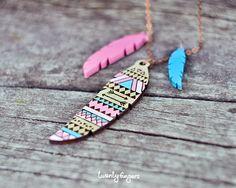 Pink & Blue Wood native pendant  feather laser by TheTwentyFingers, $16.50