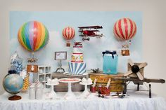 The Places you will go, A Vintage Airplane and Hot Air Ballon Themed party