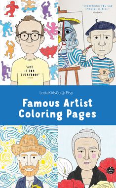 Famous artist coloring pages for kids Coloring pages of Keith Haring, Pablo Picasso, Vincent Van Gogh, Georgia O'Keeffe and more. Printable coloring pages for kids. Art history for kids. Art History Projects For Kids, Art History Lessons, Art Lessons For Kids, Art Lessons Elementary, Art For Kids, History Education, Famous Artists For Kids, Famous Artists Paintings, Picasso Art