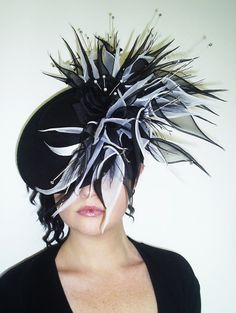 Black and Ivory silk fascinator hat with silk by jessicabissell