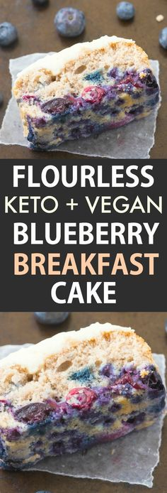 Keto Flourless Blueberry Breakfast Cake topped with a protein rich frosting! A quick, easy freezer friendly breakfast idea made with almond flour and coconut flour and bursting with blueberries! It's fluffy, moist and comes with a vegan eggless option! Vegan Blueberry, Blueberry Breakfast, Blueberry Cake, Breakfast Cake, Breakfast Ideas, Breakfast Healthy, Breakfast Casserole, Protein Rich Breakfast, Keto Vegan