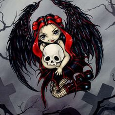 Gothic Art Prints Archives - Page 7 of 18 - Strangeling: The Art of Jasmine Becket-Griffith Fantasy Kunst, Fantasy Art, Elves Fantasy, Gothic Fairy Tattoo, Gothic Angel, Skull Artwork, Gothic Artwork, Skull Drawings, Fairy Pictures