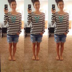 Fun casual outfit. Boyfriend shorts. J Crew shirt. J Crew necklace. Nautical. Stripes. Statement necklace.